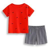 Wholesale light blue leisure suit - Leisure Kids Clothes Suit,Girls Boys Red T shirt+ stripe Pants Undershirt Shorts,Kids Pajamas Set Newborn Baby Toddler