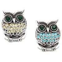 Wholesale cute buttons snaps resale online - New Super cute owl crystal metal buckle can fit mm snap button fashion women jewelry accessories TZH15
