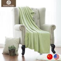 Wholesale Korean Bedspreads - Naturelife warm blanket Soft Solid color sofa bedding Throws Flannel Blanket Winter Warm Bedsheet bedspreads fleece blanket