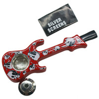 Wholesale novelty guitars - Novelty Metal Guitar Pipe Smoking Pipes with Metal Bowl Portable Guitar Pipe Unique Metal Smoking Pipes in Top Quality for Smoking Dry Herb