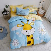 ropa de cama amarilla chica rojo al por mayor-Juego de cama 100% algodón para niños de dibujos animados ciervos impresos ropa de cama individual ropa de cama doble funda nórdica sábana juego de cama
