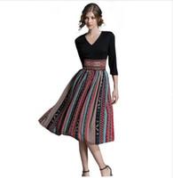 Wholesale Patchwork Print Chiffon Dress - 2017 women Summer Vintage Bohemian Chiffon print dress female Patchwork office dresses beach casual Holiday long dress