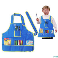 artisanat pour enfants achat en gros de-Blouse de tablier d'artisanat des enfants Y102 avec 4 poches pour peindre la classe d'art d'école d'enfants