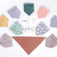 Wholesale white apron wholesale - Flower printing Baby Bibs Saliva Towel Infant Toddler Bandana cartoon printing Bibs Burp Cloth Feeding Apron Triangle Bibs