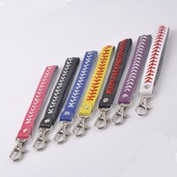 Wholesale stitch keychains for sale - Group buy Sport Seamed Lace Leather Key Chain Herringbone Softball Baseball Fast Pitch Baseball Stitch Keychain Bag Accessories LJJO4481