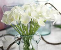 искусственные цветы оптовых-High-End моделирование чувствую пу мини калла лилии искусственные цветы Украшение дома свадебные цветы украшения GA71