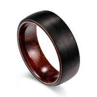 Wholesale Dome Rings - 8mm Black Tungsten Ring Matte Finish Dome Edges Solid Wood Sleeve Wedding Engagement Band,Size7-14,Include half size
