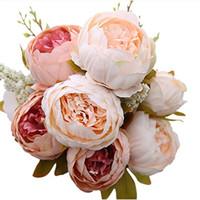 ingrosso hotel leggeri-Fiori artificiali d'annata Fiori di peonie rosa chiaro Fiori finti Fiori di festa per la decorazione di centrotavola di fiori per la casa