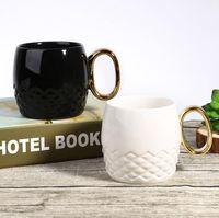 Wholesale Cute Travel Mugs - Gold Handle Mug Ceramic Cups Travel Water Cup Cute Beer Coffee Tea Cups Drinking Mug OOA4699