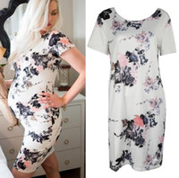 Wholesale knee length dress for pregnant - Floral Print Milk Fiber Maternity Dress 2018 Summer Fashion Slim Waist Clothes for Pregnant Women Elegant Pregnancy Clothing