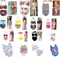 Wholesale Two Pieces Swimsuits - KIDS INS Unicorn Girls Floral Swimwear Swimsuit Clothing Two-Pieces Bikinis Beach Bathing Suit One-Pieces Beachwear Bikini Suit KKA4511