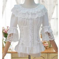 korsetts blusen großhandel-Weiße Blusen 2017 Victorian LaceChiffon Rüschenkragen Half Flare Sleeve Gothic Frauen Bluse Shirt Victorian Korsett Shirt