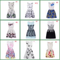 kelebek yaprakları toptan satış-11 Stil INS Kız Prenses Yay Elbise Baskı Kelebek Ince Tarzı Patchwork Yaz Petal Kolsuz Tutu Elbise Çocuklar Zarif Elbise YENI Varış