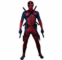 deadpool costume achat en gros de-Deadpool 2 Cosplay Wade Wilson Combinaison Costume Cosplay Costumes Halloween Carnaval