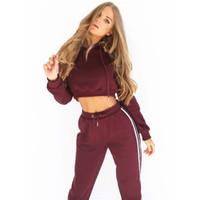Wholesale pink crop yoga pants online - Women S Tracksuits Piece Set Pink Crop Top And Pants Fashion Autumn Casual Lady Tumblr Long Sleeve Hoodies Pants Suit Female