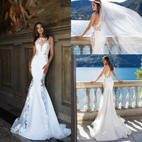 Wholesale crew neck backless wedding dress resale online - White Beach Wedding Dresses robe de marriage Sheer Backless with Buttons Mermaid Crew Neck Appliques Long Bridal Gowns