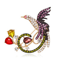 Wholesale Phoenix Fashion - Pin Crystal Jewelry Alloy Brooch Gold Brooch Retro Animal Bird Brooch Natural Phoenix Corsage Women Fashion Temperament Female Accessories