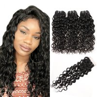 Wholesale best human hair wave for sale - Group buy Best A Brazilian Hair Bundles With Closure Water Wave Peruvian Human Hair Weaves Bundles With Lace Closure Hair Extension