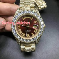 Wholesale big band mens watches resale online - NEW MM Luxury Big diamond Mechanical watch RED dial full diamond band Automatic Stainless steel mens watches