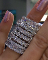 conjunto completo de la boda al por mayor-925 PLATA DE PAVE AJUSTE COMPLETO CUADRADO Diamante simulado CZ ETERNIDAD BANDA DE CONTRATACIÓN BODA Anillos de piedra Tamaño 5,6,7,8,9,10,11,12