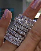verlobungshochzeit ringe größe großhandel-925 Silber PAVE SETTING VOLL SQUARE Simulierten Diamant CZ ETERNITY BAND ENGAGEMENT HOCHZEITS Stein Ringe Größe 5,6,7,8,9,10,11,12