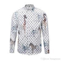camisas casuais asiáticas venda por atacado-Medusa 3D imprimir camisas dos homens de design de moda dos homens de manga comprida camisas casuais tamanho asiático 2XL