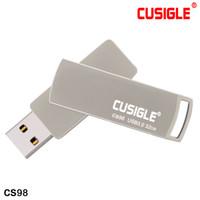 usb de metal de plata de 128 gb al por mayor-Las unidades flash USB giratorias de plata Palo Capacidad real 16 GB 32 GB 64 GB 128 GB 256 GB Para CUSIGLE CS98