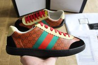 Wholesale 2018 New luxury man women designer shoes Dapper Dan Casual Shoes top quality genuine leather red green stripe Sneakers size