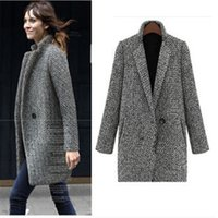 Wholesale houndstooth coat xl - 2017 Winter Coat Women Houndstooth Wool Blend Coat Single Button Pocket Oversize Long Trench Outerwear Wool For Women