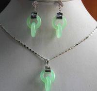 Wholesale pendent sets resale online - wholesalel woman s fancy double circle jades earring and pendent set