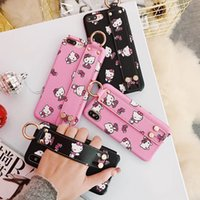 Wholesale Black Cat Iphone Case - Hello Cute kitty cat for iphone x case leather grip strap stand cover for iphone 7 plus 8 6s 6 plus case