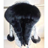 женщина серебряная парка оптовых-Genuine Silver  Fur Collar Hooded Long Casual Parkas Women Winter Real Raccoon Fur Lining Coat Jacket