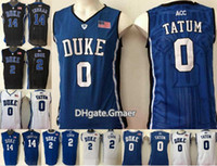 Wholesale Brandon Shirts - Men 0 Jayson Tatum 2 Quinn Cook 14 Brandon Ingram Duke Blue Devils Jerseys College Sport Basketball Shirts All Stitched Jerseys