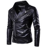 Wholesale Import Cotton - Wholesale- MarKyi fashion mens faux fur coats slim fit long sleeve motorcycle leather jacket for men Eu size 5xl imported jackets