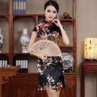 красное официальное платье китайского стиля оптовых-chinese women's satin short black cheongsam in red modern qipao women plus size embroidery style sexy traditional dress formal
