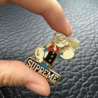 cadena de broche de moda al por mayor-Popeye moda broche insignia de metal llavero colgante llavero en stock K02