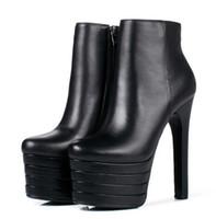 portakal platformları topuklu toptan satış-Yeni kadın platformu süper yüksek ince topuk ayak bileği çizmeler Moda siyah / beyaz / turuncu yuvarlak ayak yüksek topuk kısa çizmeler Bayanlar 'parti ayakkab ...