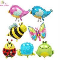Wholesale bird balloons - HEY FUNNY 5 pcs lot foil mini snail bird toy balloons bee butterfly animal balloon For birthday party&baby shower decoration