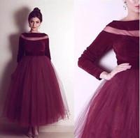 vestidos de desfile de manga roja al por mayor-2018 el más nuevo vino rojo de manga larga vestidos de noche Sheer Neck A-Line Pageant vestido de fiesta vestidos de noche formales