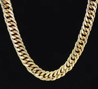 Wholesale thick gold chain wholesale online - Miami Cuban Chains For Men Hip Hop Jewelry Gold Color Thick Stainless Steel Long Big Chunky Necklace Gift