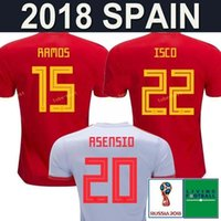 Wholesale national green - New 2018 Spain Soccer Jersey World Cup ASENSIO MORATA ISCO RAMOS Spain national Football Shirt INIESTA SERGIO SILVA PIQUE camiseta de fútbol