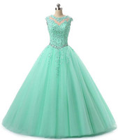 Wholesale ball gowns dresses resale online - Sweet Quinceanera Pageant Dresses Lace Applique Tulle Ball Gown Prom Dresses Long Vestidos anos Keyhole Back Debutante Masquerade Gown