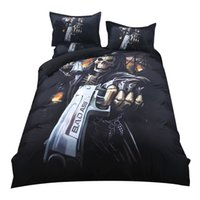 Wholesale queen skull bedding for sale - 2018 Gothic Gun Skull Print Bedding Set Polyester Microfiber Duvet Cover Set Twin Queen King Pc Pillowcases Linens