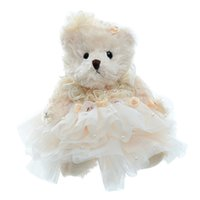 Wholesale wedding stuffed animals online - Animals Stuffed Plush Animals Plush Wedding Teddy Bear Dolls Wearing Lace Dress Stuffed Developmental Dolls Home Car Decor Best
