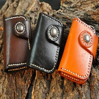 Wholesale handmade leather card wallet - Fashion Handmade Portable Genuine Cowhide Leather Car Keychain Key Bag Cards Pouch Bag Multifunction Wallet Support FBA Drop Shipping H22F