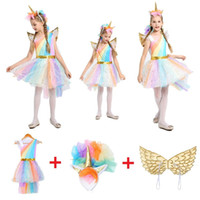 крылья рожков оптовых-Kids Girl Fancy Rainbow Sequined Tutu Wedding Party Dress With Unicorn Horn/Hair Hoop Wings Set Halloween Cosplay Costumes Props