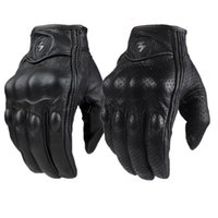Wholesale Perforated Leather Gloves - Moto Racing Gloves Leather cycling gloves Perforated Leather Motorcycle Gloves black color M L XL size
