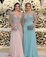 vestido de coral simple al por mayor-Vestidos de noche de talla grande en árabe 2018 Escote en v Escote barco Largos vestidos de fiesta simples Vestidos para embarazadas a medida