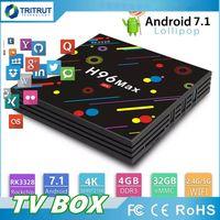 usb 265 venda por atacado-Novo H96 Max Caixa de TV Android 7.1 Inteligente TV-Box 4 GB 32 GB DLNA USB 3.0 2.4G 5G AC WiFi Bluetooth H.265 HEVC 4 K Ultra Media Player MQ01