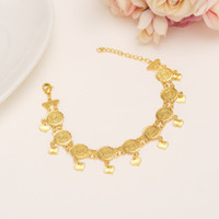 Wholesale charm thai - Coins 22K 23K 24K THAI BAHT YELLOW FINE SOLID GOLD GP Bracelet 19CM+3CM Women Men Bangle Wholesale Islam Middle East Chain Jewelry Gifts